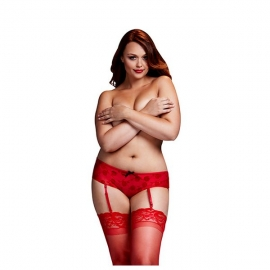 Shorty rose rouges ouverture entrejambe grande taille Baci Lingerie BW3122-REDQS