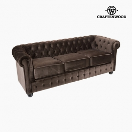 Canapé Chester 3 places Velours Marron - Collection Relax Retro by Craftenwood