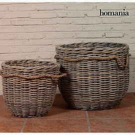 Lot de paniers (2 pcs) Rotin (54 x 54 x 46 cm) by Homania